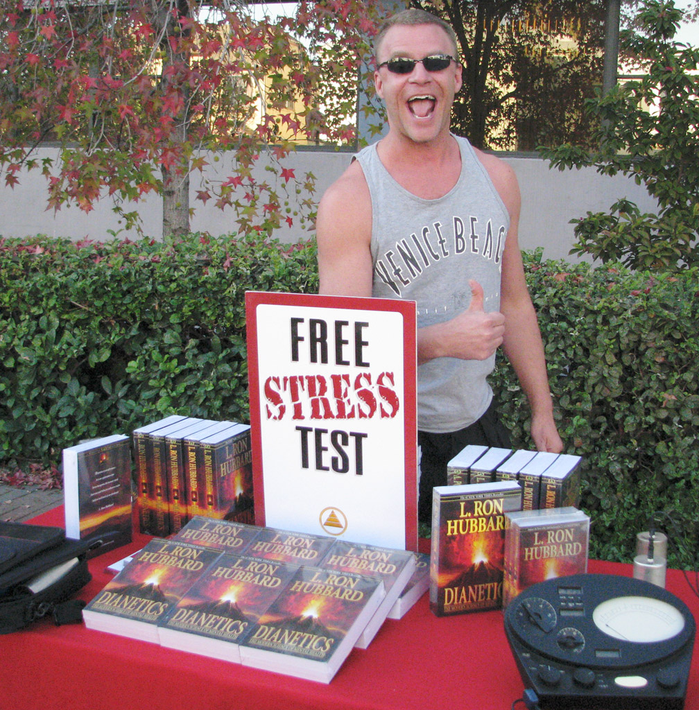 angry gay pope scientology stress test table